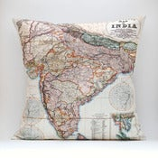 "Image of Vintage INDIA Map Pillow, Made to Order 18"" x18"" Cover"