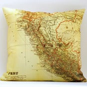 Image of Vintage PERU Map Pillow, Made to Order 18&quot; x18&quot; Cover