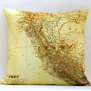 "Image of Vintage PERU Map Pillow, Made to Order 18"" x18"" Cover"