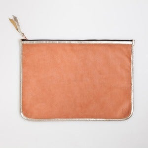 Image of LARGE CLUTCH-Peach & Platinum
