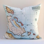 Image of Vintage BAHAMAS Map Pillow, Made to Order 18&quot; x18&quot; Cover
