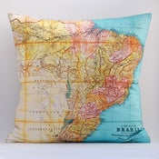 "Image of Vintage BRAZIL Map Pillow, Made to Order 18"" x18"" Cover"