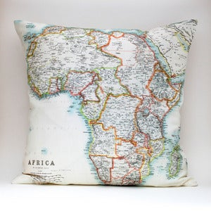"Image of Vintage AFRICA 18""x18"" Map Pillow Cover"