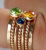 Image of Peridot, Citrine, Sapphire Gold Stackable Birthstones Mothers rings, Personalized Mothers Rings