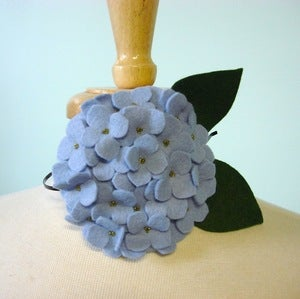 Image of large hydrangea // pale periwinkle headband