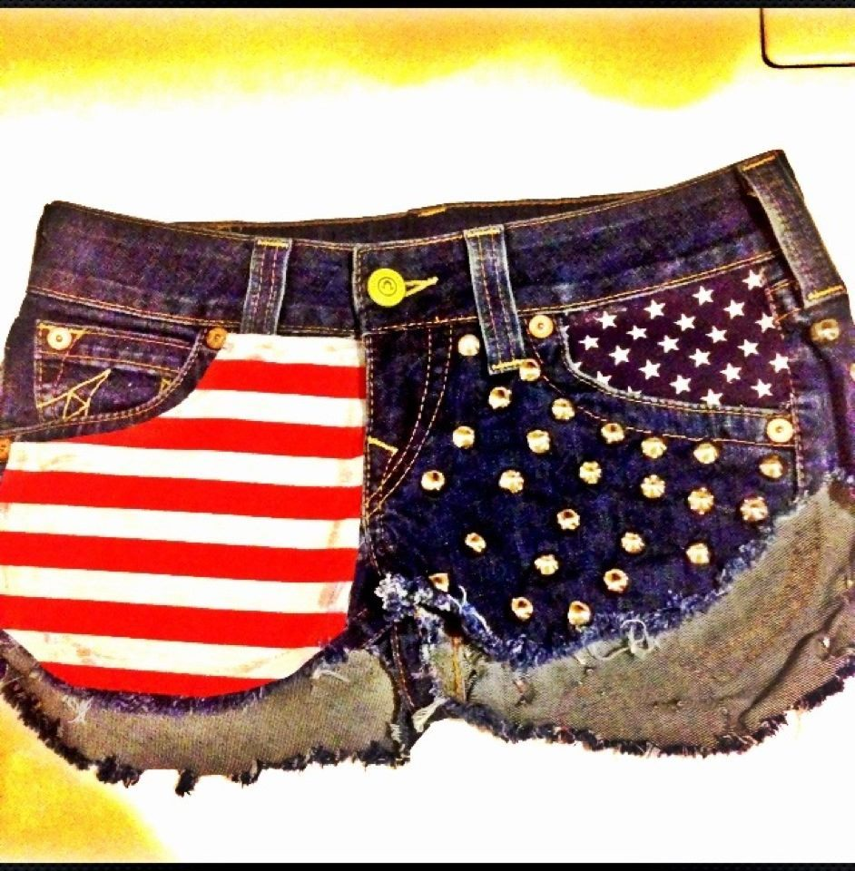 Image of SLS American Flag Studed Shorts
