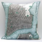 "Image of Vintage LOWER MANHATTAN Map Pillow, Made to Order 18"" x18"" Cover"