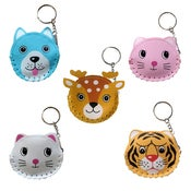 Image of ANIMAL FACED KEY CHAIN COIN PURSE
