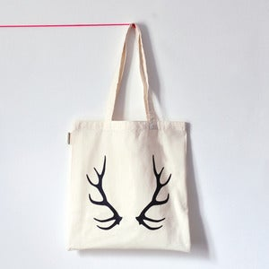 Image of OH DEER . Tote bag bois de cerf noir