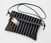 Image of -S O L D O U T- foldover clutch in black + white stripe with a removable strap!