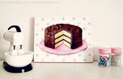 Image of classic chocolate layer cake with polka dots 5x7 Art Print mini plaque