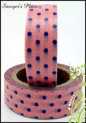 Image of Pink with Blue Spot Washi Tape - Japanese Masking Tape - 15mm x 10m