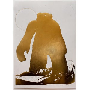 Image of 'Yeti Over Mount Fuji (gold foil)' SOLD OUT