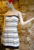 Image of Strapless Uneven Stripe Dress