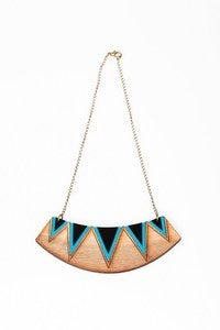 Image of Geometric triangle bib necklace - Blue