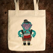 Image of The Monkey Drummer - Natural Tote Bag