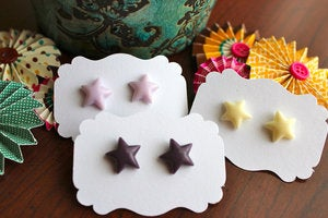 Image of You're A Star Earrings // Purples and Ivory