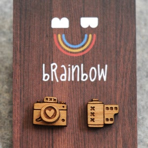 Image of Wooden Camera Earrings