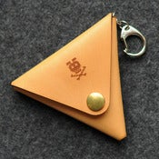 Image of Triangle Leather Coin Case with Key Ring