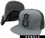 Image of NEW! Rebel 8 Eight Originals Snapback Fitted Hat Collection (Grey/Black)