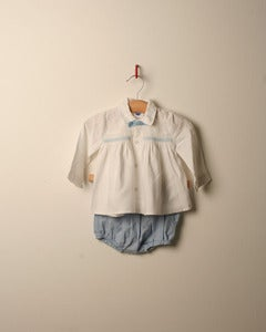 Image of c. 1980s smocked twin set