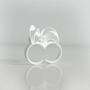 Image of Ribbon Double Ring White
