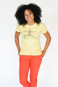 Image of yoga - burnout t-shirt - yellow
