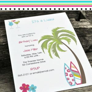 Image of Luau Party Invitations for Birthday or Any Occasion
