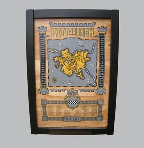 Image of pittsburgh map - framed