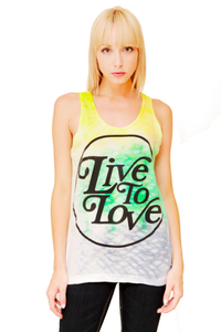 Image of Yellow/Green/Blue Dyed Logo Tank