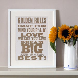 Image of Golden Rules Letterpress poster