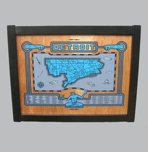 Image of detroit map - framed