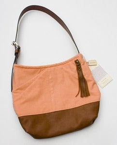 Image of --S O L D -- bright coral + leather two-tone shoulder bag (b)
