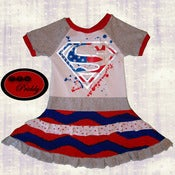 Image of **SOLD OUT** Superman / Supergirl Red, White, and Blue Dress - size 5/6