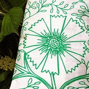 Image of Linen Tea Towel - Green Filigree