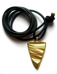 Image of Slice of Sand leather pendant