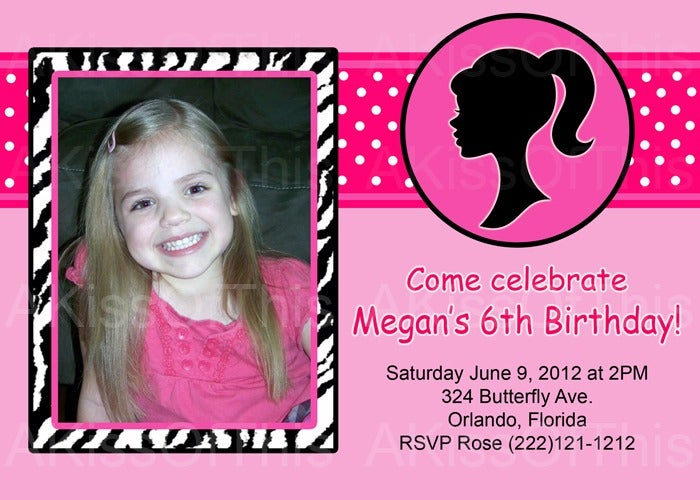 Barbie Birthday Invitations Templates Free Barbie Birthday