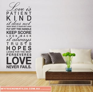 Image of Vinyl Wall Decal Sticker Art, Love is Patient...