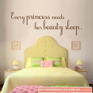 Image of Vinyl Wall Sticker Decal Art Quote Every Princess Needs Her Beauty Sleep