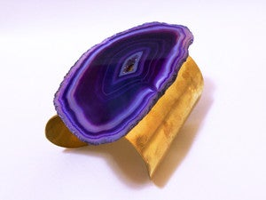 Image of Purple Agate and Brass Cuff