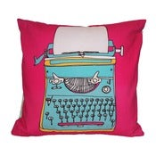Image of Typewriter Cushion - Blue or Pink Design