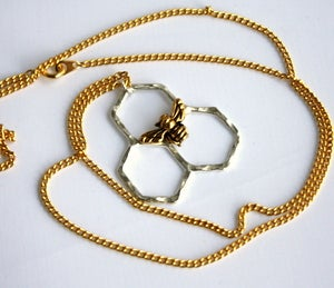 Image of Mini Honeycomb on 24 inch Brass Chain