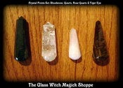 Image of Crystal Points Set: Bloodstone, Quartz, Rose Quartz & Tiger Eye