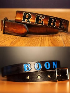 "Image of 1 1/4"" Custom Leather Name Belt, Personalized With Anything"