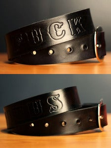 "Image of 1 1/2"" Black Custom Solid Leather Name Belt, Personalized With Anything"