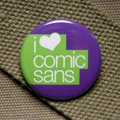 Image of I heart comic sans button