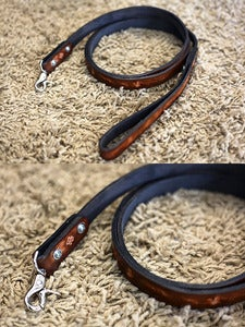 "Image of Custom Leather Dog Leash 70"" in Length"