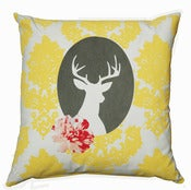 Image of NEW Handmade cushion on natural fabrics – Yellow deer cameo