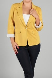 Image of Plus Size Mustard Blazer