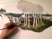Image of Salty Seas & Birch Trees Hand-Painted